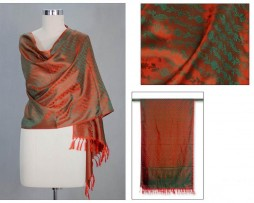 Banarasi Silk Orange Borealis Shawl