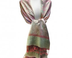 Pink and Green Jacquard Shawl