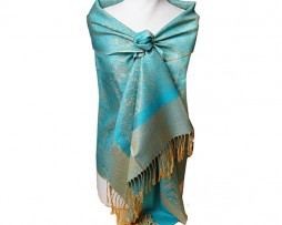 Turquoise and Gold Jacquard Shawl